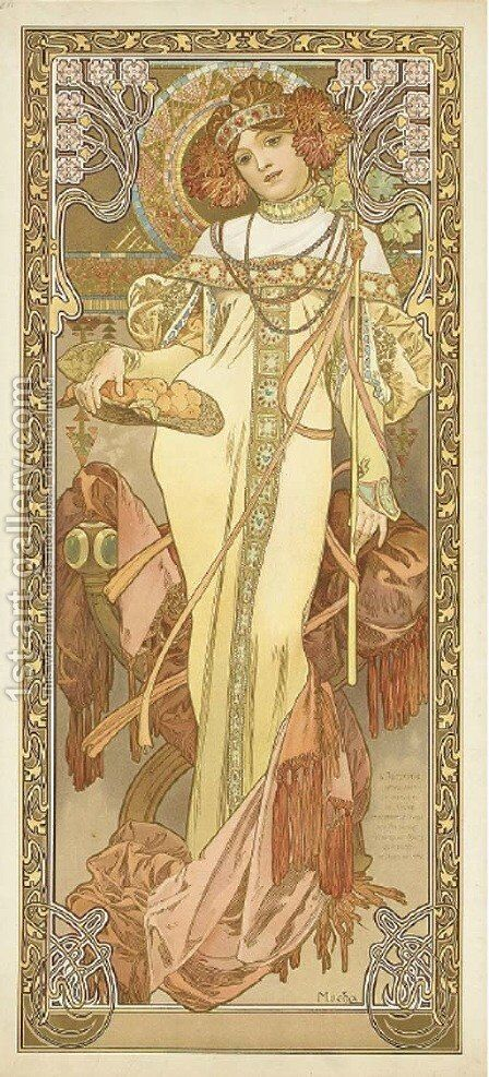 L'Automne by Alphonse Maria Mucha - Reproduction Oil Painting