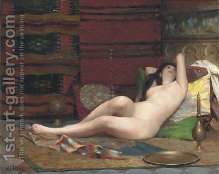 A moment of reverie in the Harem by Alphonse Pellet - Reproduction Oil Painting