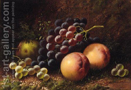 Grapes, Peaches and an Apple on a mossy Bank by Alphonse Vimont - Reproduction Oil Painting