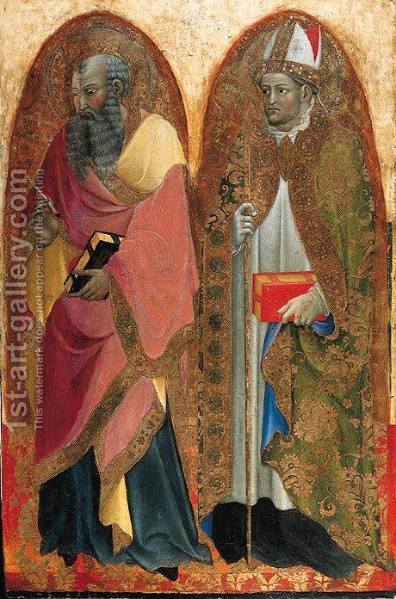 Saints John the Evangelist and Saint Augustine a panel from a polyptych by Alvaro Di Pietro (Pirez D'Évora) - Reproduction Oil Painting