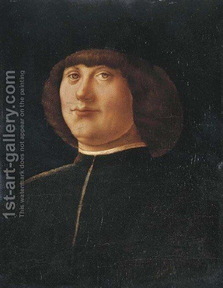Portrait of a gentleman, bust-length, in a black coat and black cap by Alvise Vivarini - Reproduction Oil Painting