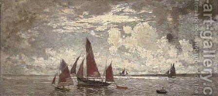 Red sailing boats at sea by Amedee Marcel-Clement - Reproduction Oil Painting