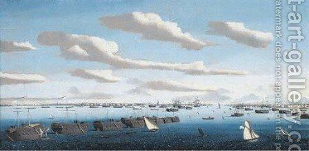 A panorama of Portsmouth harbour with hulks in line ahead and the fleet at anchor, including warships of the American and Spanish navies by Ambroise-Louis Garneray - Reproduction Oil Painting