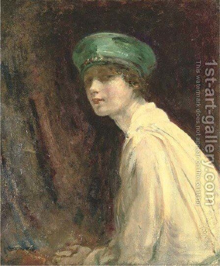 'The Green Hat', a portrait of Mrs Claude Johnson by Ambrose McEvoy - Reproduction Oil Painting