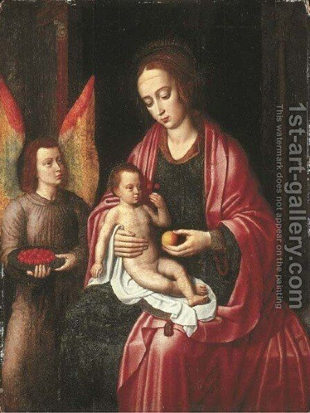 The Virgin and Child attended by an angel with a bowl of cherries by Ambrosius Benson - Reproduction Oil Painting