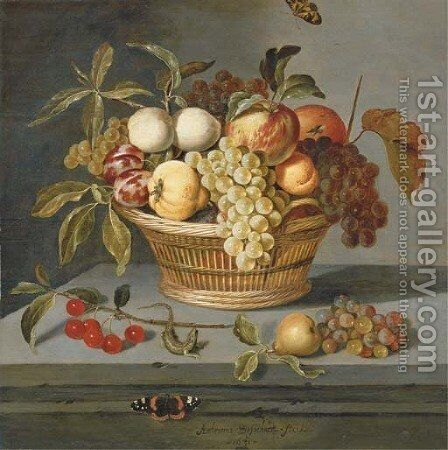 Grapes with a pear, an apricot, apples and plums in a wicker basket with a sprig of cherries, a lizard and a Red Admiral butterfly on a stone ledge by Ambrosius the Elder Bosschaert - Reproduction Oil Painting