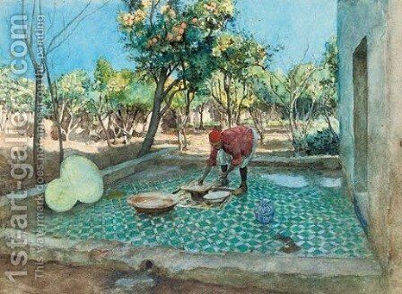 Laying tiles by the orange grove by Amedee Forestier - Reproduction Oil Painting