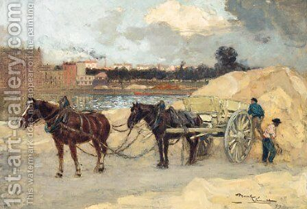The Sand Cart by Amedee Marcel-Clement - Reproduction Oil Painting