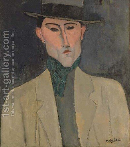 Homme au chapeau by Amedeo Modigliani - Reproduction Oil Painting