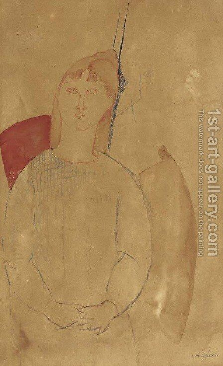 Jeune femme assise by Amedeo Modigliani - Reproduction Oil Painting