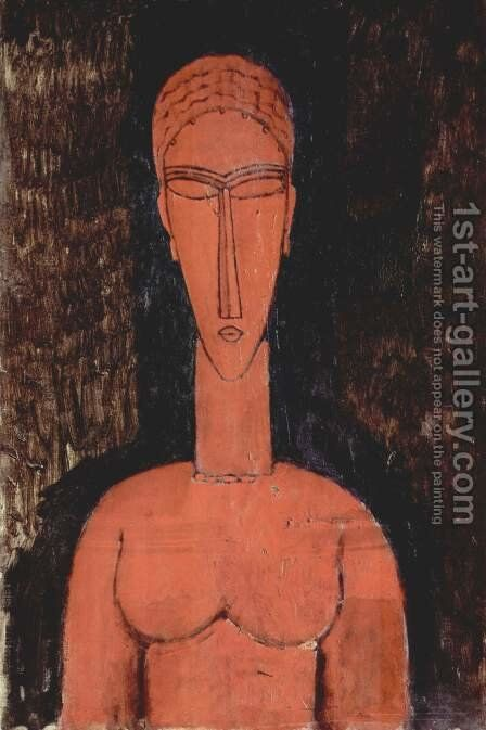 Le buste rouge (Cariatide) by Amedeo Modigliani - Reproduction Oil Painting