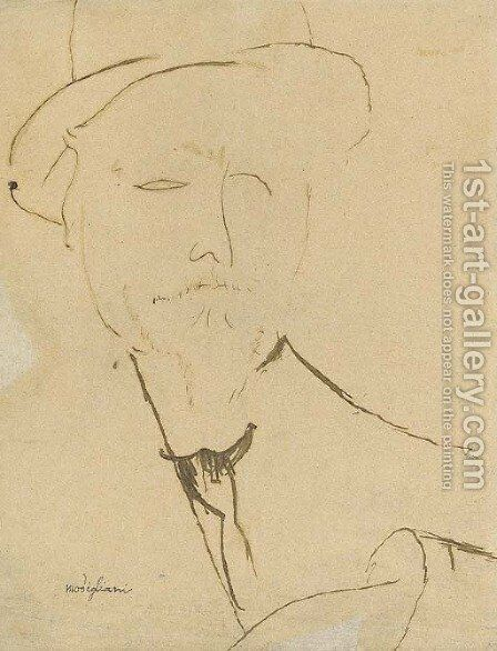 Portrait d'homme by Amedeo Modigliani - Reproduction Oil Painting