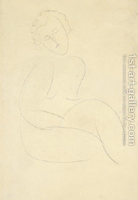 Femme nue assise by Amedeo Modigliani - Reproduction Oil Painting