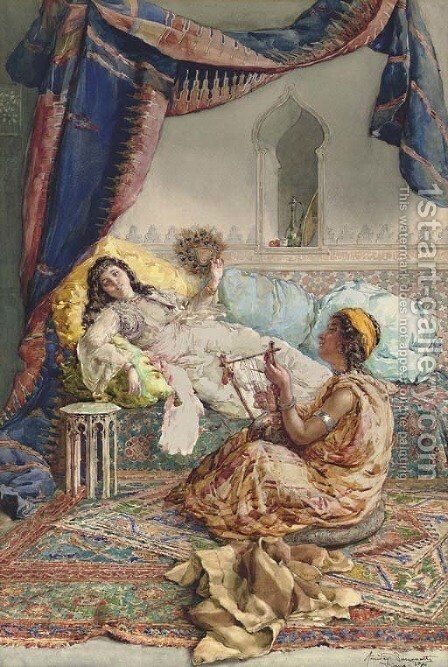 A Musical Interlude by Amedeo Momo Simonetti - Reproduction Oil Painting