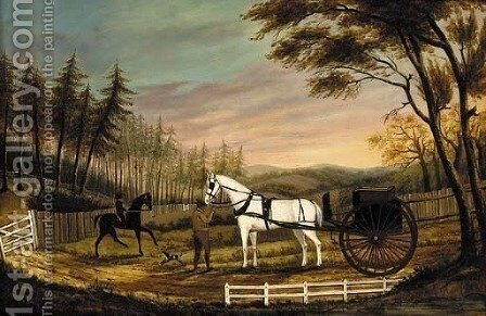 A gentleman with a horse and gig in a landscape by American School - Reproduction Oil Painting