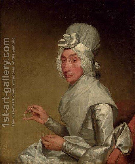 Portrait of a Lady in a White Dress and Bonnet by American School - Reproduction Oil Painting