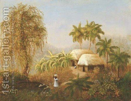 Tropical Scene by American School - Reproduction Oil Painting