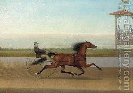Trotting by American School - Reproduction Oil Painting