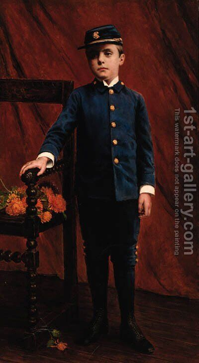 Portrait of a boy in 'Yankee' uniform by American School - Reproduction Oil Painting