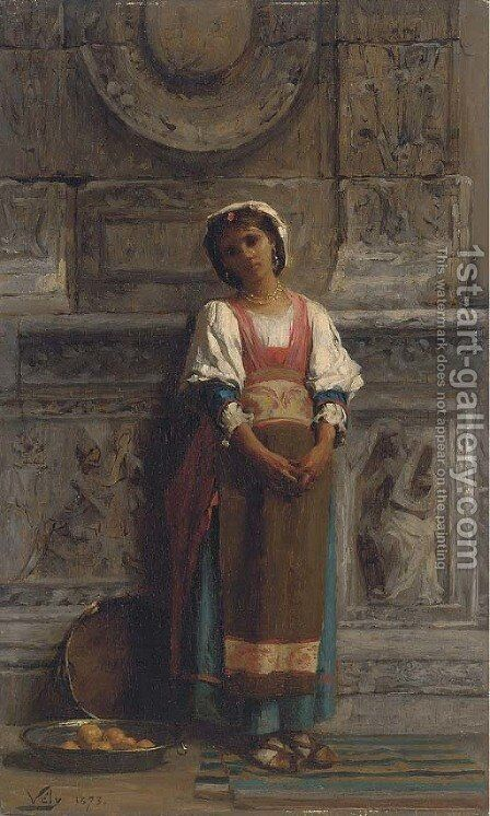 A southern Italian market girl by Anatole Vely - Reproduction Oil Painting