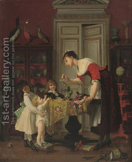 The puppet show by Anatole Vely - Reproduction Oil Painting