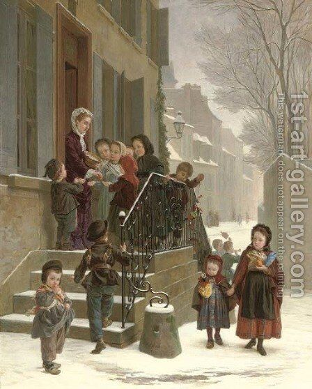New Year's day by Andre Henri Dargelas - Reproduction Oil Painting
