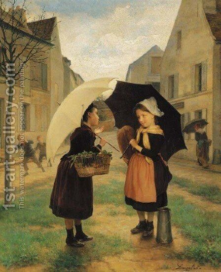 The young shoppers by Andre Henri Dargelas - Reproduction Oil Painting