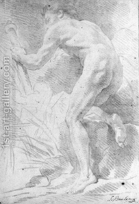 A nude seen from behind holding a staff by A. Lebrun - Reproduction Oil Painting