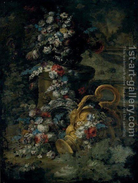 Tulips, roses, bluebells and other flowers in an urn, on a pedestal, a second urn below and a fountain beyond by Andrea Belvedere - Reproduction Oil Painting