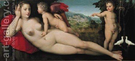 Venus with Sacred and Prophane Love by Andrea del Brescianino - Reproduction Oil Painting
