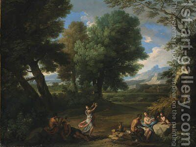 Nymphs and satyrs in a wooded landscape by Andrea Locatelli - Reproduction Oil Painting