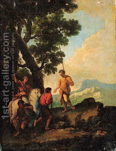 Soldiers resting by a Tree, a mountain landscape beyond by Andrea Locatelli - Reproduction Oil Painting