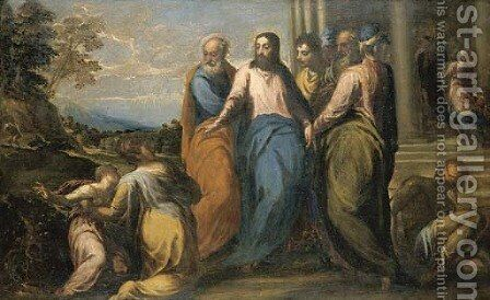Christ in the House of Jairus by Andrea Schiavone - Reproduction Oil Painting
