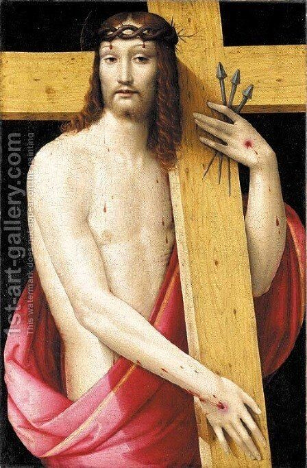 Christ holding the Cross, as the Man of Sorrows by Andrea del Brescianino - Reproduction Oil Painting