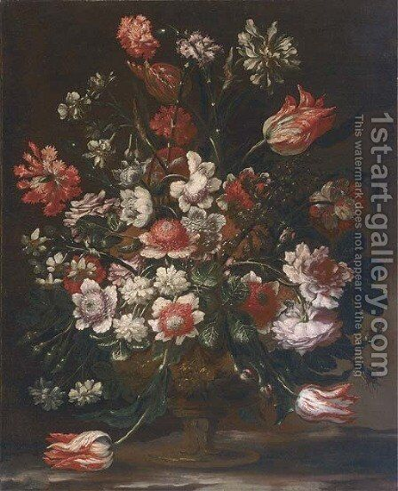 Tulips, carnations, chrysanthemum, narcissi, roses and other flowers in an urn on a marble ledge by Andrea Scacciati - Reproduction Oil Painting