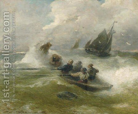 Rowing on rough seas by Andreas Achenbach - Reproduction Oil Painting