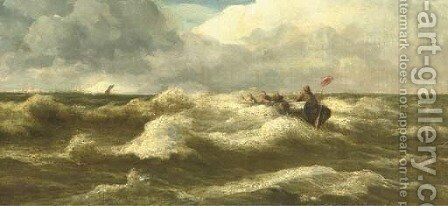 The rescue by Andreas Achenbach - Reproduction Oil Painting