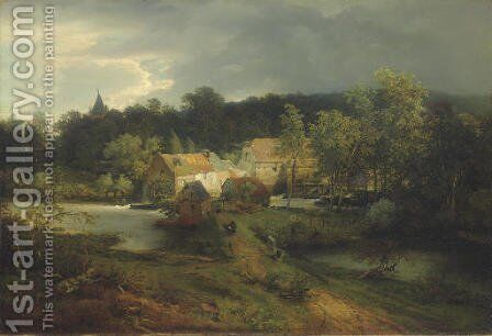 The Watermill in the Village by Andreas Achenbach - Reproduction Oil Painting