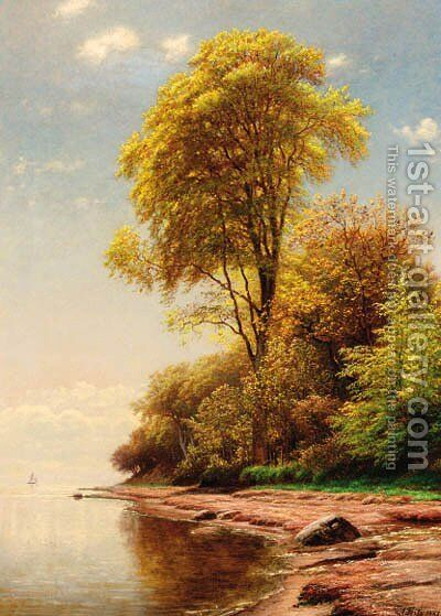 A wooded coastal landscape by Andreas Fritz - Reproduction Oil Painting