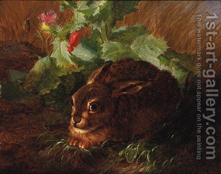 A Rabbit in long Grass by Andreas Lach - Reproduction Oil Painting