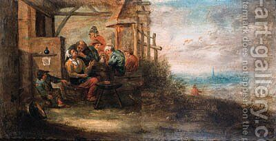 Rustic courtships in riverlandscapes by Martin Andreas Reisner - Reproduction Oil Painting