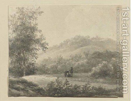 A hilly landscape with figures by Andreas Schelfhout - Reproduction Oil Painting