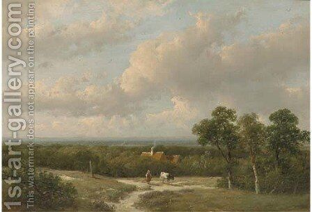 A panoramic landscape in summer by Andreas Schelfhout - Reproduction Oil Painting