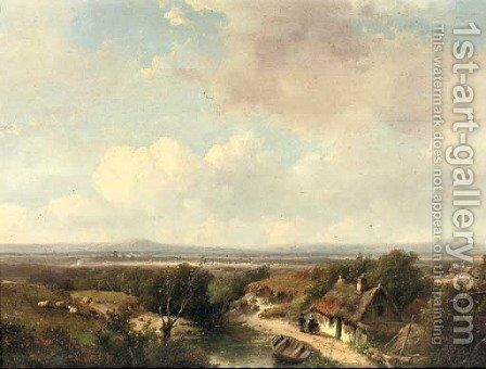A panoramic landscape in summer 2 by Andreas Schelfhout - Reproduction Oil Painting
