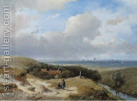A panoramic summer landscape with travellers resting in the dunes by Andreas Schelfhout - Reproduction Oil Painting