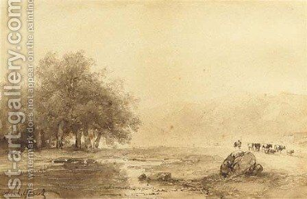 A river landscape with cattle on a path by Andreas Schelfhout - Reproduction Oil Painting