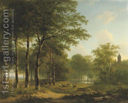 A shepherd and his flock on castle grounds by Andreas Schelfhout - Reproduction Oil Painting