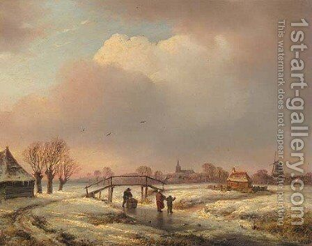 A winter landscape with figures on a frozen waterway by Andreas Schelfhout - Reproduction Oil Painting