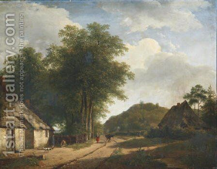 A woman on a sandy path in summer by Andreas Schelfhout - Reproduction Oil Painting
