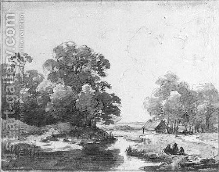 A wooded landscape with figures resting by a pond, a farm beyond by Andreas Schelfhout - Reproduction Oil Painting